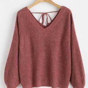 Drop Shoulder V-Neck Oversized Sweater (Plum)